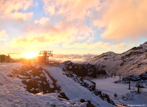 Whakapapa Skifield - Happy Valley at sunset