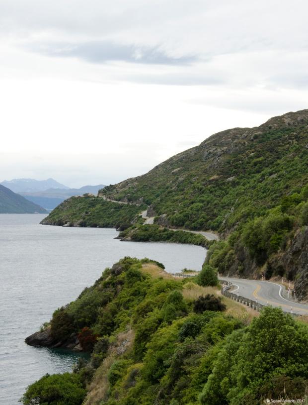 Road along Lake Wakatipu, New Zealand