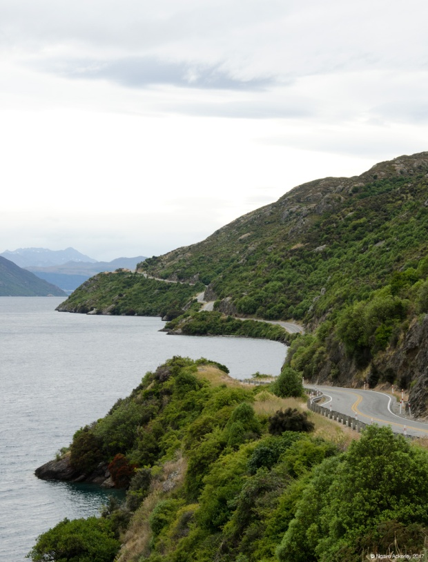Road along Lake Wakatipu, New Zealand