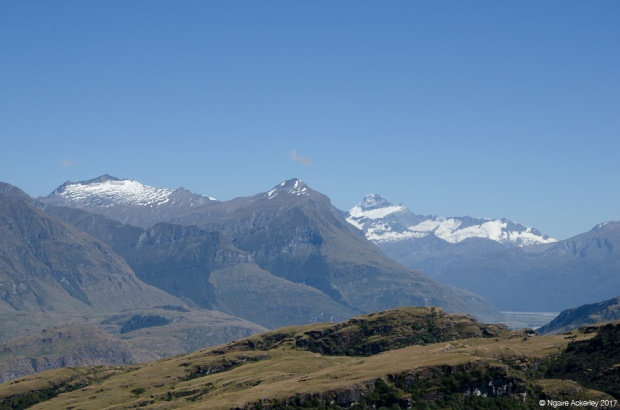 Snowy mountain view from the summit of Rocky Mountain, Wanaka