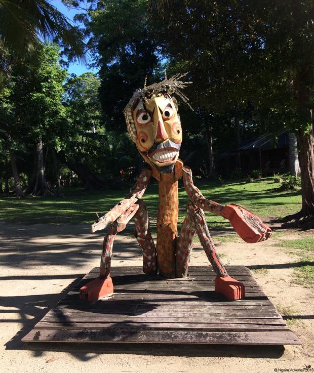 character sculptures, Pulau Tiga, Borneo