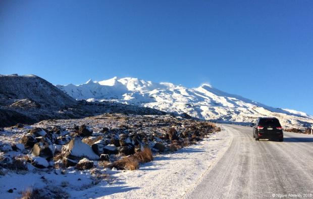 Snowy roads driving to Whakapapa skifield, Mt. Ruapehu